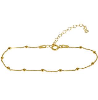Pulsera cadena con bolitas mini plata bañada en oro