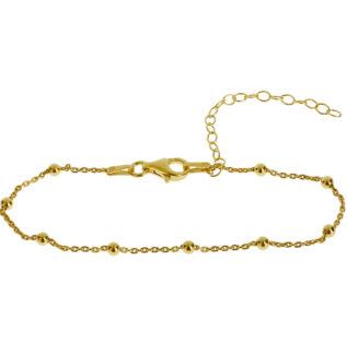 Pulsera cadena con bolitas plata bañada en oro
