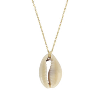 Collar concha cowrie plata bañada en oro