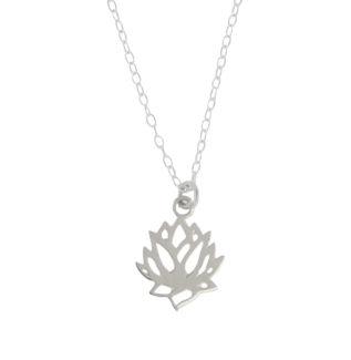 Collar flor de loto en plata de primera ley