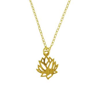 Collar flor de loto plata bañada en oro