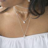 Collar concha, collar rondeles con piedra semipreciosa y collar eslabón en plata