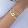 Pulsera concha, pulsera cadena plana y pulsera bolitas plata bañada en oro