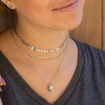 Choker chapas, choker eslabon y collar estrella polar con zirconita en plata