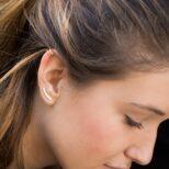 Ear cuff 2 barras y pendientes trepadores de círculos en plata bañada en oro