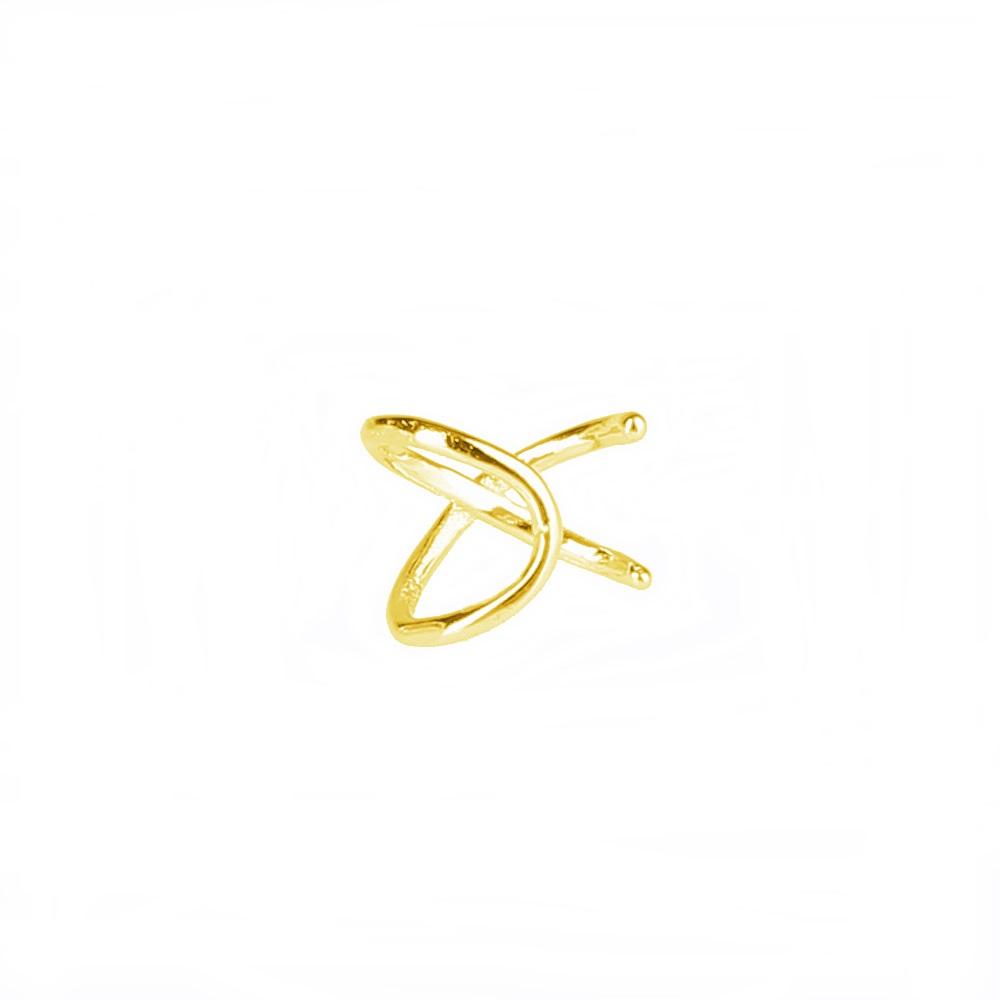 Pendientes ear cuff 2 barras cruzadas plata bañada en oro Unidad