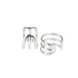 Pendientes ear cuff liso 3barras en plata