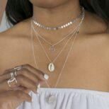 Collar concha cowrie, collar ola, collar choker chapas y collar sol 20mm en plata