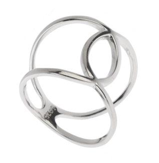 Anillo curvas cruzadas en plata