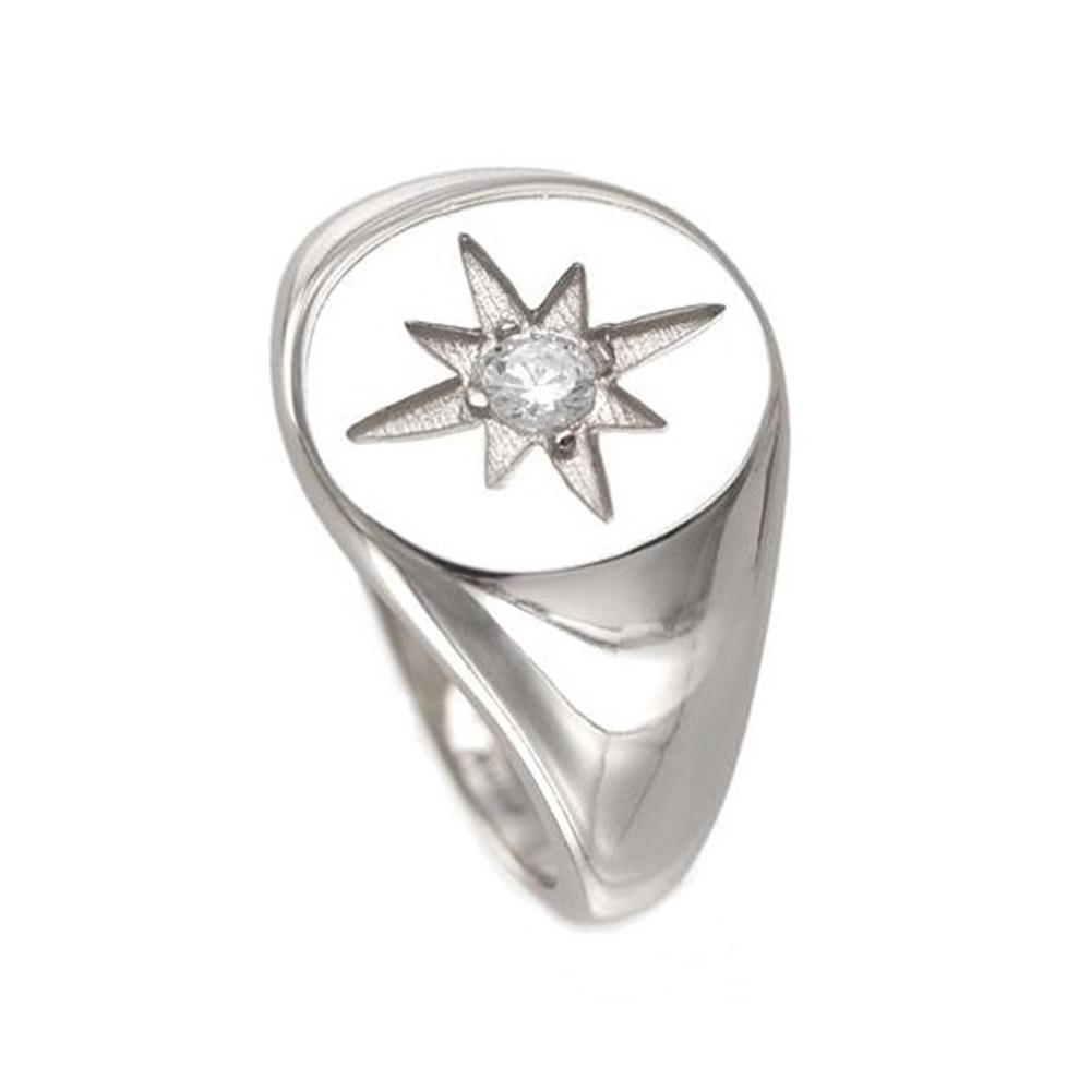 Anillo estrella polar con zirconita en plata