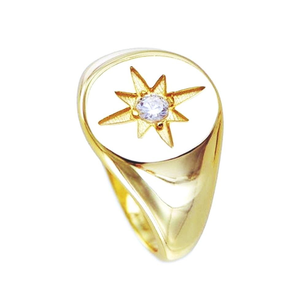 Anillo estrella polar con zirconita plata bañada en oro