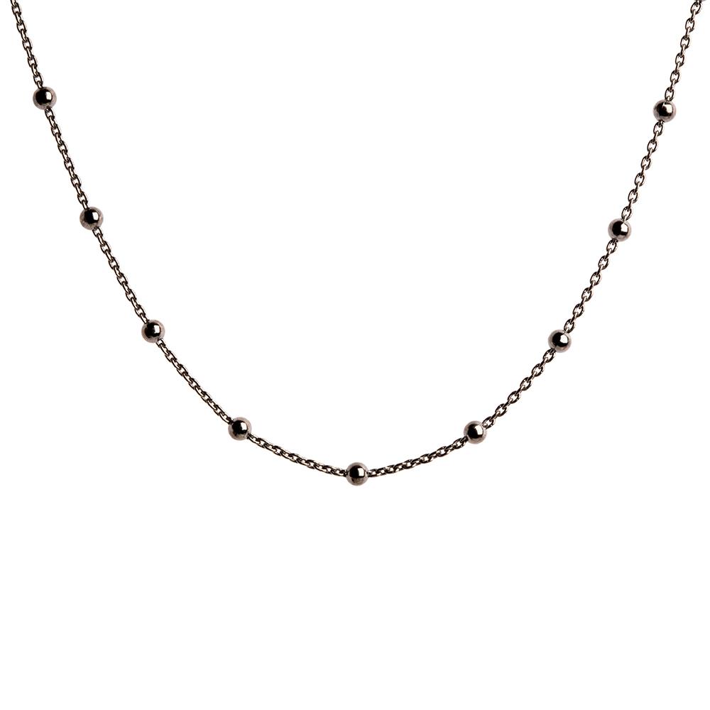 Collar cadena con bolitas en plata negra