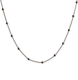 Collar cadena con bolitas mini en plata negra