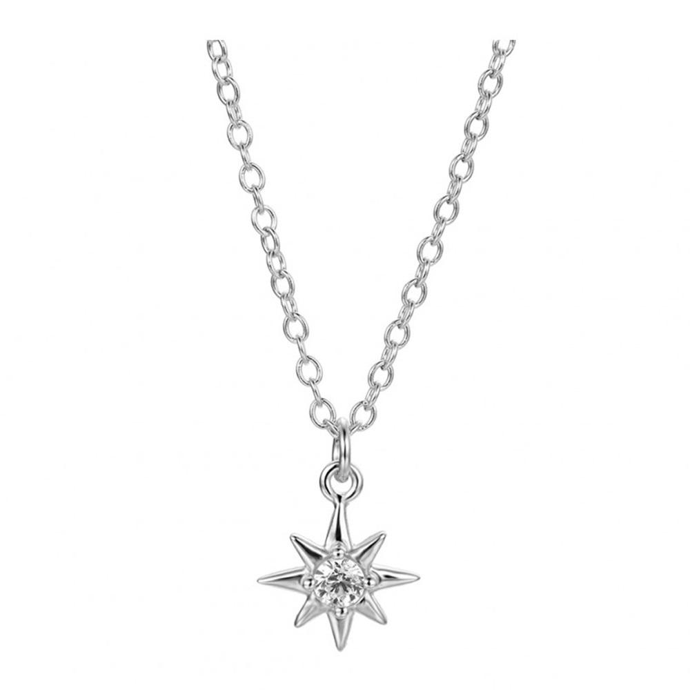 Collar estrella polar con zirconita en plata