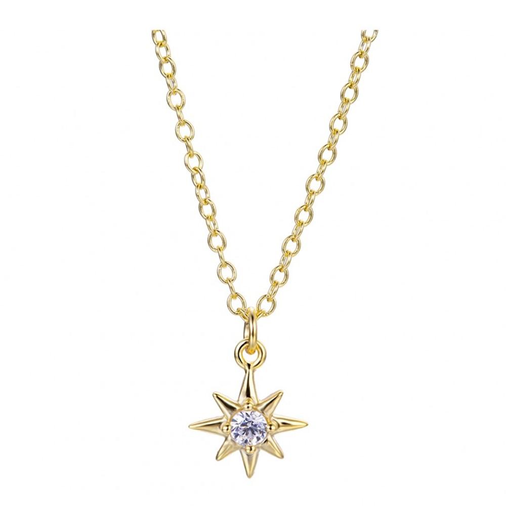 Collar estrella polar con zirconita plata bañada en oro