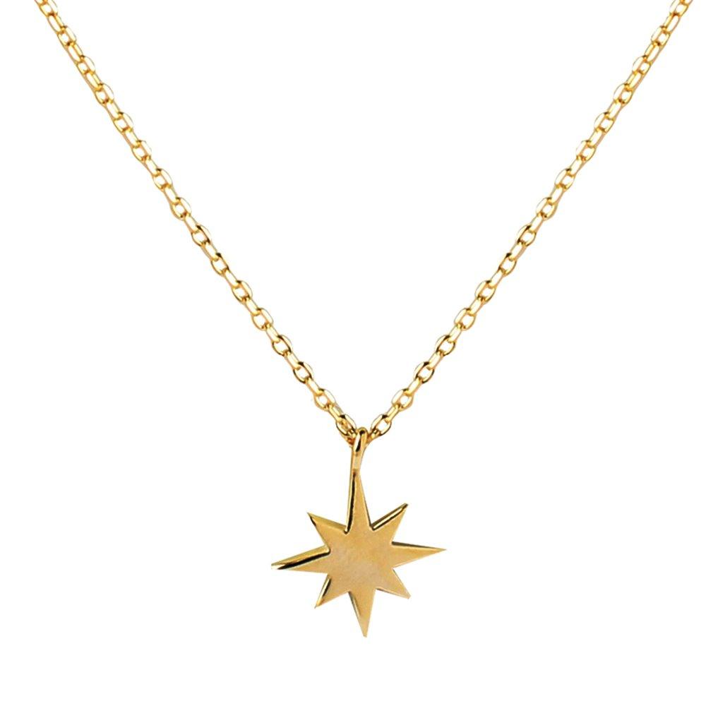 Collar estrella polar pequeña plata bañada en oro