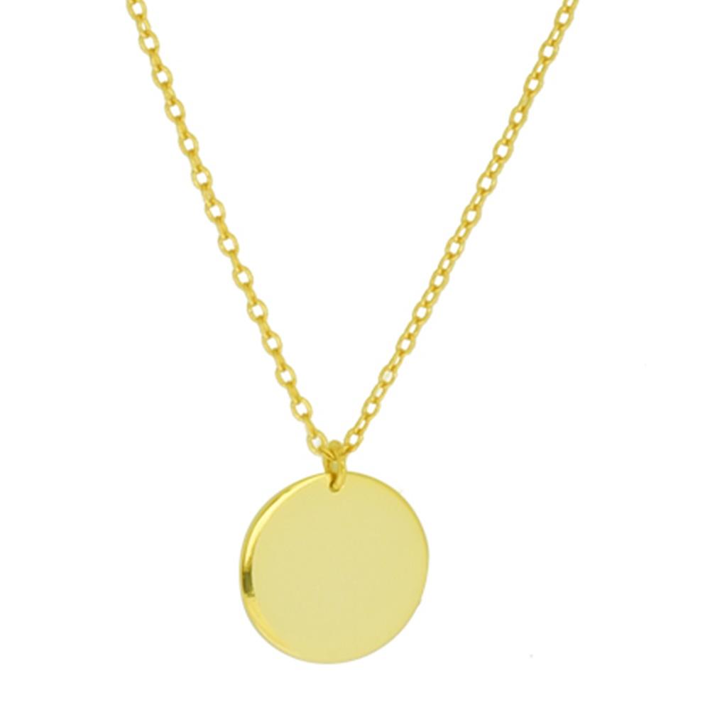 Collar luna llena plata bañada en oro