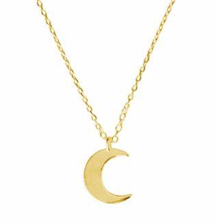 Collar luna plata bañada en oro