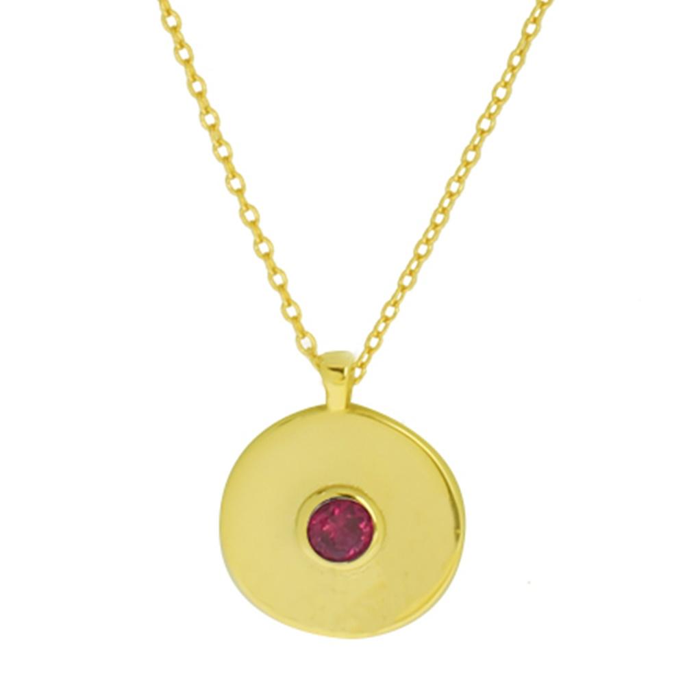 Collar medalla con zirconita plata bañada en oro Granate