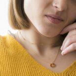 Collar placa estrella polar con zirconita y choker zirconitas en plata bañada en oro