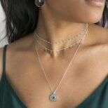 Collar medalla con zirconita, collar rondeles con piedra semipreciosa y collarr rosario piedra semipreciosa en plata