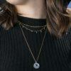 Collar medalla con zirconita, collar rosario piedra semipreciosa y collar rondeles piedra semipreciosa plata bañada en oro