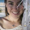 Collar rosa de los vientos 14mm, collar cadena cubitos plata bañada en oro