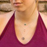 Collar símbolo mujer, collar mundo 15 mm y collar bola diamantada con piedra semipreciosa 6 mm onix verde en plata