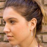 Pendientes símbolo mujer y ear cuff doble gota en plata