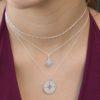 Collar rosa de los vientos 14mm, collar estrella polar y collar cadena con cubitos en plata