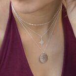 Collar estrella polar, collar rosa de los vientos y collar cadena con cubitos en plata