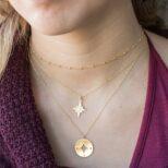 Collar estrella polar, collar rosa de los vientos 14 mm y collar cadena bolitas mini en plata bañada en oro