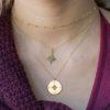 Collar rosa de los vientos 14 mm, collar estrella polar y collar cadena con bolitas mini en plata bañada en oro