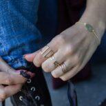 Anillo doble abierto ancho, anillo doble abierto y anillo triple en plata bañada en oro