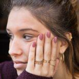 Anillo doble abierto y anillo triple en plata bañada en oro