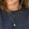Collar luna creciente, collar sol 16 mm y collar cadena bolitas en plata bañada en oro
