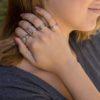 Anillo triple, anillo curvas cruzadas, anillo doble abierto y anillo doble abierto ancho en plata