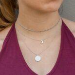 Collar sol 16 mm, collar luna y choker eslabon en plata