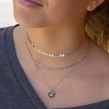 Collar estrella polar con zirconita, choker chapas y choker eslabon en plata