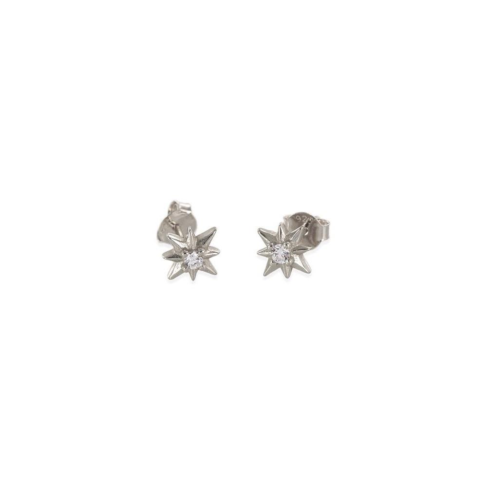Pendientes estrella polar con zirconita en plata