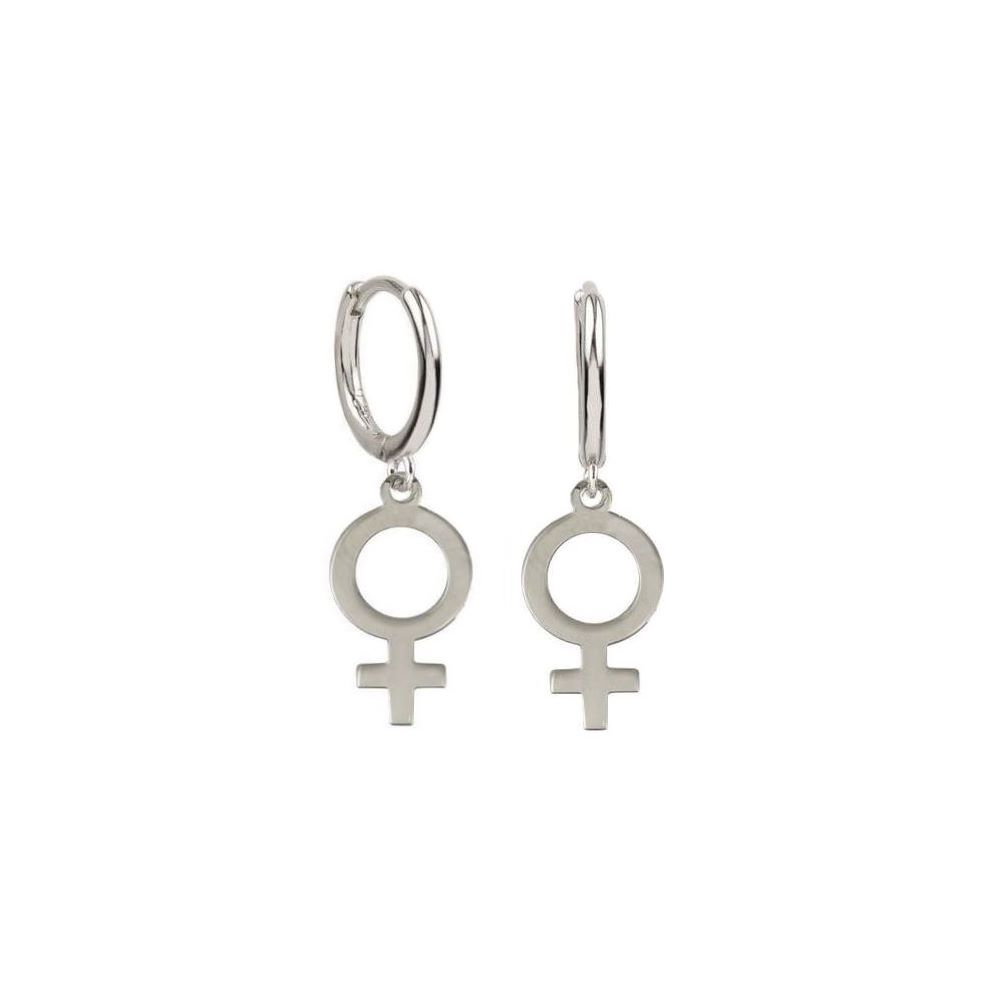 Pendientes símbolo mujer en plata