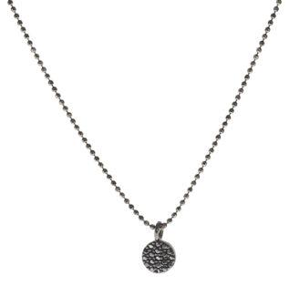 Collar círculo zirconita en plata negra