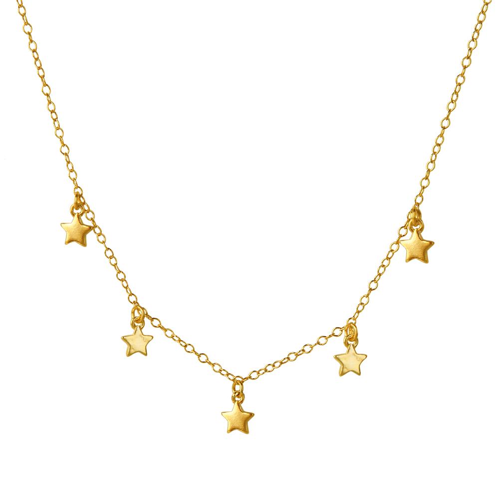 Collar 5 estrellas plata bañada en oro