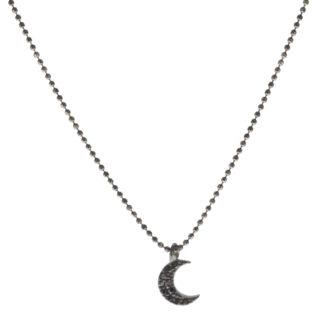 Collar luna zirconita en plata negra