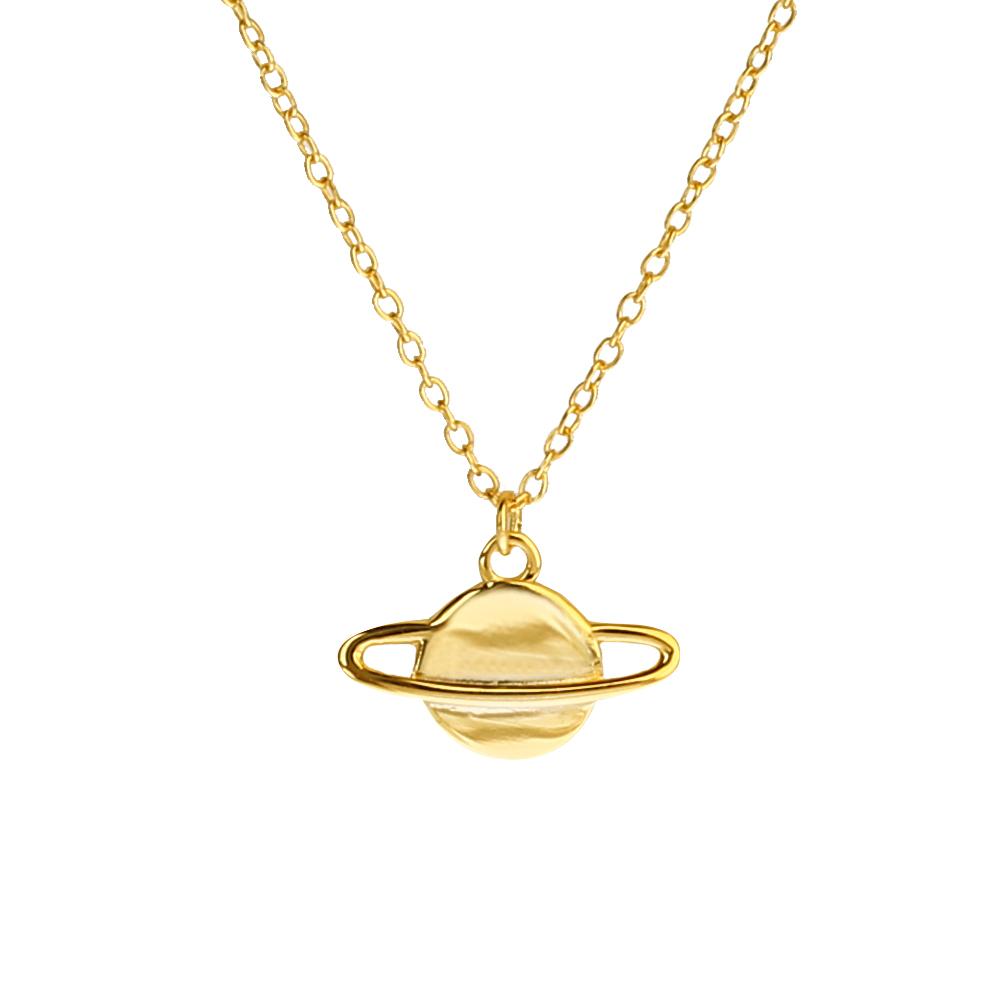 Collar saturno plata bañada en oro