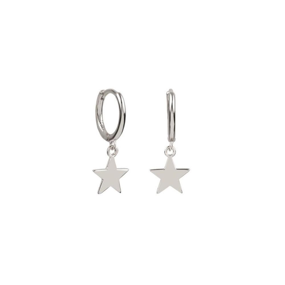 Pendientes aro con estrella en plata