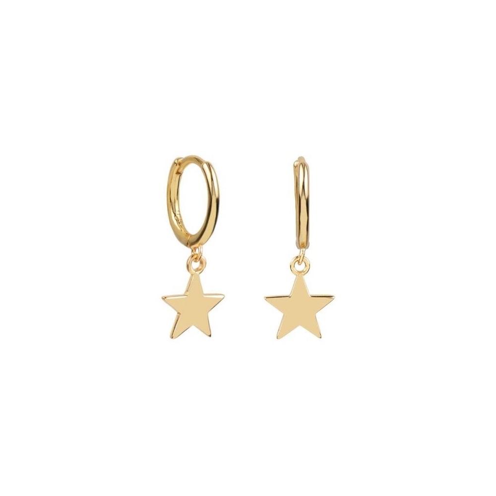 Pendientes aro con estrella plata bañada en oro