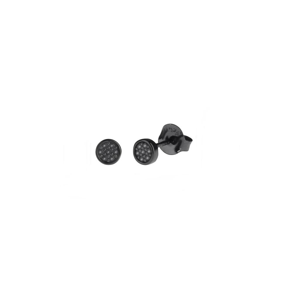 Pendientes círculo con zirconita en plata negra