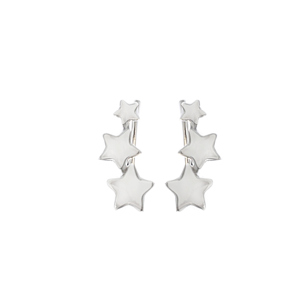 Pendientes trepadores 3 estrellas en plata
