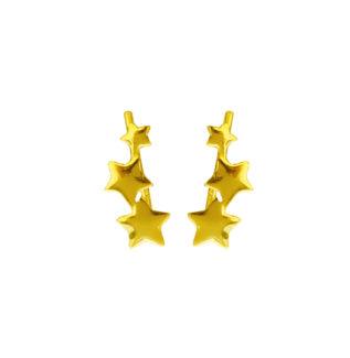 Pendientes trepadores 3 estrellas plata bañada en oro